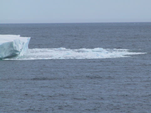 With a loud bang a wall of ice fell from this iceberg